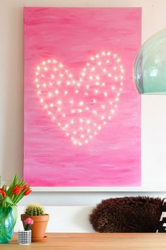 Heart of lights on a canvas DIY #kidsparty #kids