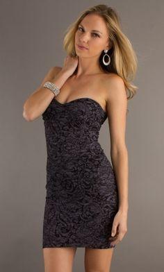 Black Sheath/Column Strapless Tight Short/Mini Prom Dress PD37BD