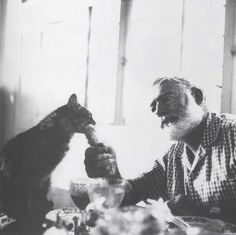 """Ernest Hemingway: """"We have three good cats here so I sang them the song and they were very pleased. When I can't sleep at night I tell them stories about our great cat Mooky out west who fought the badger. When I say THE BADGER! Tester has to get under the covers she is so frightened. Hemingway& Cats: an illustrated biography, 2005. Pictured: Cristobal."""