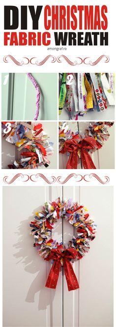 DIY Christmas Fabric Wreath – Great decoration