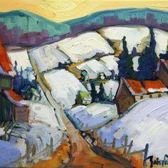 Les champs de neige par Normand Boisvert 10 x 12 / Oil on canvas  #Quebec #Toile #¨Peinture #Painting #Art #Artist #paysage #hiver #winter #landscape Land Scape, Champs, Painting, Artwork, Normandie, Snow, Artist, Work Of Art, Auguste Rodin Artwork