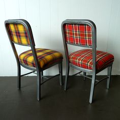 steel chairs recovered in plaid - I love these... via newfoundstudio