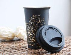Hand Painted Ceramic EcoFriendly Travel Mug  Gold by yevgenia