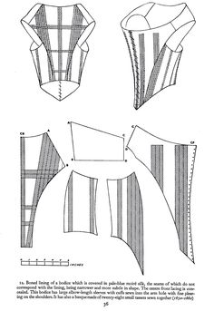 Fonte: livro Corsets and Crinolines de Norah Waugh, pg. 17th Century Clothing, 17th Century Fashion, 18th Century Dress, 18th Century Costume, Diy Clothing, Clothing Patterns, Sewing Patterns, Historical Costume, Historical Clothing
