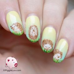 Freehand adorable hedgehogs nail art
