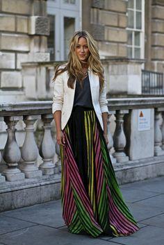 #maxiskirt #saia #longa #listras