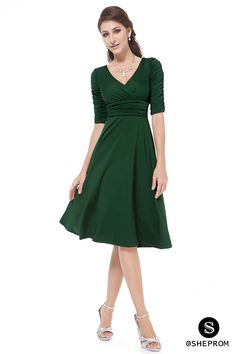 2015 Brief OL Casual Summer Dress Women's Solid Fit and Flare Short Sleeve Knee-Length Dresses for Colors to Choose) Casual Cocktail Dress, Cocktail Dresses With Sleeves, Green Dress Casual, Casual Dresses, Fashion Dresses, Formal Dresses, Green Dress With Sleeves, Simple Short Dresses, Short Sleeve Dresses