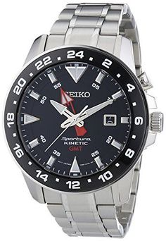 Seiko Sportura Kinetic Mens Wristwatch Second Time Zone Timex Watches, Big Watches, Best Watches For Men, Seiko Watches, Sport Watches, Cool Watches, Wrist Watches, Daniel Wellington, Seiko Sportura