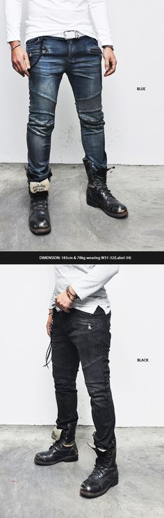 Bottoms :: Baggy Waist Sit Low Slim Straight Biker-Jeans 169 - Mens Fashion Clothing For An Attractive Guy Look