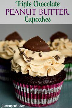 Triple Chocolate Peanut Butter Cupcakes | JavaCupcake.com