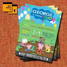 Peppa Pig Birthday invitation, Peppa Pig Party, George Pig Birthday Invitation /T18 by ArtAmoris on Etsy