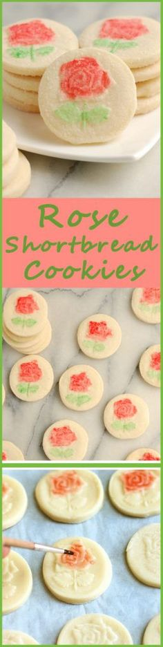 Buttery Shortbread Cookies scented with rosewater and decorated with a rose. Find out how to paint with egg whites. Get the recipe.