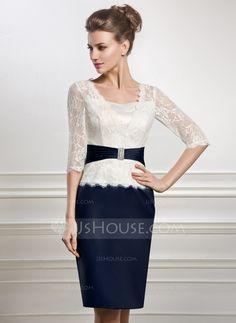 Knielang Kleid für die Brautmutter mit Perlen verziert (008056887)