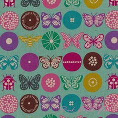 Etsuko Furuya Echino Fall Collection 2012 Insect Aqua [IMPORT-JG95800-804-C12] - $19.95 : Pink Chalk Fabrics is your online source for modern quilting cottons and sewing patterns., Cloth, Pattern + Tool for Modern Sewists