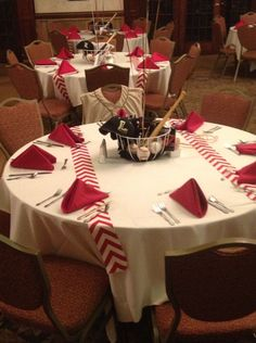 I decorated the tables for my son's High School baseball banquet. Cool for a baseball birthday party Baseball Table, Baseball Mom, Baseball Stuff, Softball Stuff, Baseball Season, Softball Treats, Baseball Sayings, Baseball Snacks, Baseball Quilt