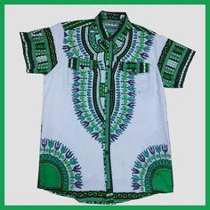 African Wax Prints men's Dashiki Makenzi fabric shirt,Grass green Men Short Sleeve Dress Shirt African dashiki print LBL729-2