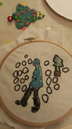 LS Lowry inspired embroidery work. A section of a painting redrawn and embroidered using a hoop.