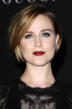 "[link url=""http://www.glamourmagazine.co.uk/person/evan-rachel-wood""]Evan Rachel Wood[/link] is never shy to take a risk when it comes to her hairstyle. Long, short and everything in between, the 27-year-old beauty has tried the lot. Her latest look, a glossy cropped bob, is a striking style, and it gets even better..."