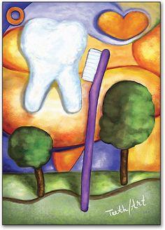 Teeth Art Tooth Brush Postcard by SmartPractice Dental Life, Dental Art, Dental Teeth, Humor Dental, Dental Posters, Cute Tooth, Brain Art, My Dentist, Ideas