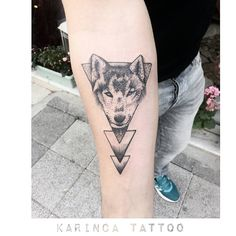 Geometric Wolf Tattoo on the arm https://www.instagram.com/bahadircemtattoo…