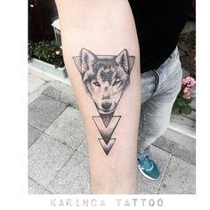 Geometric Wolf Tattoo on the arm https://www.instagram.com/bahadircemtattoo…