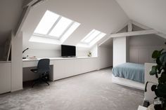 Attic Master Bedroom, Attic Bedroom Designs, Attic Rooms, Attic Spaces, Loft Apartment Decorating, Loft Room, Attic Renovation, Office Interior Design, Dream Rooms