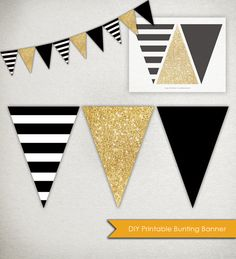 DIY Printable Banner ------ Graphic stripes, sparkling glitter and a bold solid. This listing is for Black Gold Party, Black White Parties, Black White Gold, Black And Gold Party Decorations, Black Stripes, Gold Diy, Grad Parties, Birthday Parties, Sweet 16