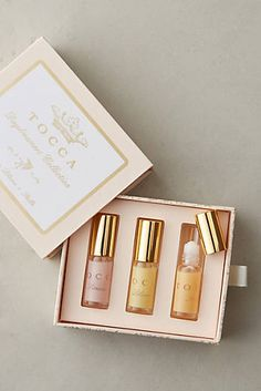 Tocca Rollerball Perfume Trio there are two different samples of three and i love them all! Perfume Packaging, Soap Packaging, Packaging Design, Coffee Packaging, Cosmetic Packaging, Product Packaging, Packaging Ideas, Travel Size Perfume, Lipstick Designs
