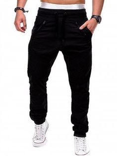 Zipper Embellished Elastic Waist Jogger Pants Pant Style: Jogger Pants Style: Casual Fit Type: Regular Pant Length: Long Pants Material: Polyester Front Style: Flat Waist Type: Mid With Belt: No Weight: kg Package Contents: 1 x Jogger Pants Jogger Pants Style, Mens Jogger Pants, Sports Trousers, Sport Pants, Joggers, Men Pants, Casual Pants, Men Casual, Pantalon Cargo