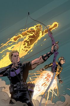 Avengers 5 variant cover by Paolo Rivera (Hawkeye, Sunspot and Cannonball)