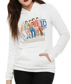One Direction Stripes Pullover Girls Hoodie Junior Size Medium #google #onedirection