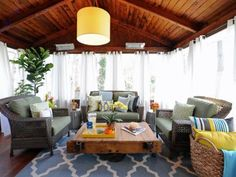 These homeowners called Sabrina in to turn their seldom-used screened-in porch into a bonus room for year-round entertaining — and she delivered with this casual, welcoming design that brings the best of the indoors out. Cushy rattan seating ($5,500), sheer drapery panels ($600) and a graphic rug ($700) deliver the comfort and indoor feel the homeowners want while featuring durable, weather-proof materials. Total, this sophisticated sunroom rings in at a hefty $19,000.
