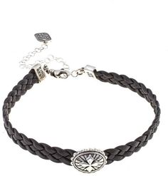 "King Baby Jewelry Braided Leather Sterling Silver Cross Station 12"" Choker"
