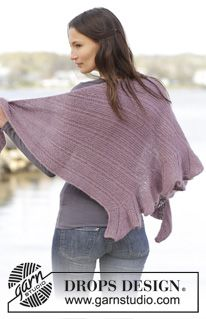 "Alma - Knitted DROPS shawl in garter st with flounce in ""Baby Merino"" and ""Kid-Silk"". - Free pattern by DROPS Design"