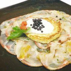 Storione marinato con la bottarga e uova di trota