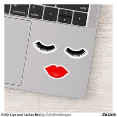 Girly Lips and Lashes Red Sticker Pink Lipstick Makeup, Pink Lipsticks, Big Eyelashes, Bright Pink Lips, Cute Laptop Stickers, Design Your Own Stickers, Vinyl Sheets, Sticker Shop, Christmas Card Holders