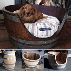 36+ Creative DIY Ideas to Upcycle Old Wine Barrels --> Wine Barrel Pet Bed #repurpose #furniture #wine_barrel