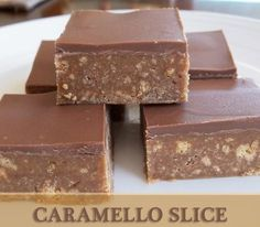 Caramello Slice 250g Caramello chocolate 1 packet of plain biscuits (crushed) ¼ cup butter ½ tin condensed milk. Directions Break chocolate into pieces and melt with butter in the microwave. Stir in condensed milk and crushed biscuits. Press into rectangle tray and refrigerate until set. You could spread or drizzle melted chocolate over the top or sprinkle with coconut or other toppings