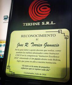 Gracias #TEKHNE y #CiscoNetAcad por este reconocimeinto
