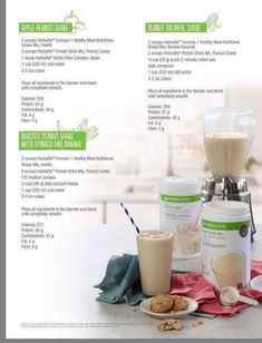 A collection of 3 delicious Herbalife smoothies. They provide healthy protein and are wonderful as a meal replacement. -Apple peanut shake -Peanut oatmeal shake -Roasted peanut shake w/ spinach and banana Herbalife Meal Plan, Herbalife Protein, Herbalife Shake Recipes, Herbalife Nutrition, Herbalife Products, Isagenix, Healthy Protein, Healthy Breakfasts, Healthy Recipes