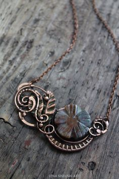 Wire wrap necklace, Wire wrapped jewelry, handmade necklace, copper necklace, agate necklace by LenaSinelnikArt on Etsy https://www.etsy.com/listing/202429301/wire-wrap-necklace-wire-wrapped-jewelry