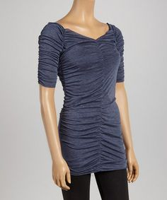 This Gray Ruched V-Neck Tunic by Casalee is perfect! #zulilyfinds. Reg $35.00. Now $12.99