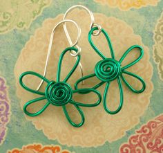 Green Flower Swirl Earrings ~ You Pick the Shade of Green that you like Best! by favmoongirl on Etsy, $10.00