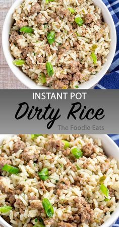 instant pot recipes Instant Pot Dirty Rice - This southern classic dish is comfort food at its finest! Its slightly spicy from the creole seasoning and super simple to make. On the table in about 45 minutes. Best Instant Pot Recipe, Instant Pot Dinner Recipes, Instant Pot Meals, Instant Recipes, Instant Pot Pressure Cooker, Pressure Cooker Recipes, Pressure Cooking, Elite Pressure Cooker, Slow Cooker Rice Recipes