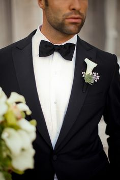 black tux, white shirt, black tie