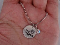 Pet Mom Crystal Necklace Pet Necklace Personalized Custom Dog Cat Pet Lover Friendship Necklaces Gift Ideas Pet Charm Pet Jewelry Pet Rescue
