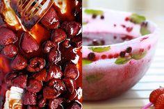 receta, recipe, fresas, sangría, bol, bowl, strawberries, hielo, ice, cuenco de hielo, ice bowl