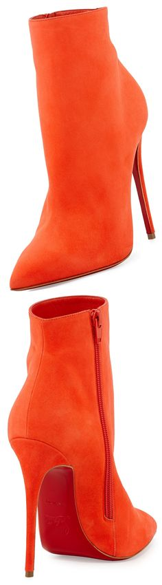 Christian Louboutin Red Sole  #Orange Ankle Boot
