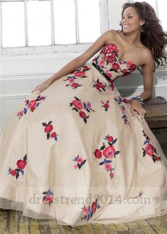 2014 Nude Red Floral Embroidery Ball Gown Prom Dress