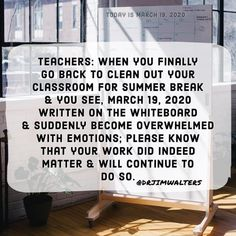 Teachers You mattered You matter You will always matter Everything else is a support system. You're the fulcrum. Overwhelmed Quotes, You Matter, Appreciate You, Forever Grateful, You Working, Education Quotes, Suddenly, Memoirs, Classroom
